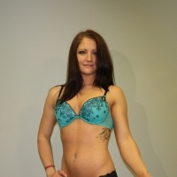 Heather in bra before shave